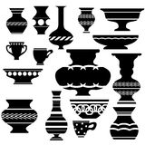 Set of Vases Silhouettes Royalty Free Stock Photo