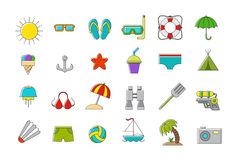 Set of vation  icons. Set of 24 summer vacation  icons Royalty Free Stock Photo