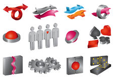 Set of vector 3-D icons Stock Images