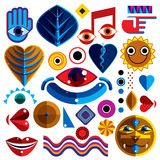 Set of vector abstract art symbols, different modern style graph Stock Image