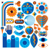 Set of vector abstract art symbols, different modern style graph Stock Photos