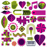 Set of vector abstract art symbols, different modern style graph Royalty Free Stock Images