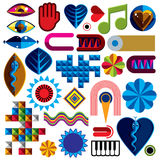 Set of vector abstract art symbols, different modern style graph Royalty Free Stock Photography