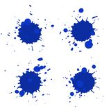 Abstract artistic paint drops. Set of vector abstract artistic paint splashes and drops. Dark blue ink blots isolated over white background stock illustration