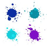 Abstract artistic paint drops. Set of vector abstract artistic paint splashes and drops. Multicolor blue ink blots isolated over white background Royalty Free Stock Images