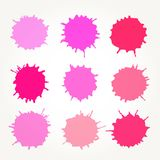 Abstract artistic paint drops. Set of vector abstract artistic paint splashes and drops. Pink ink blots over white bacground stock illustration