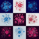 Set of vector abstract backgrounds created in Bauhaus retro styl. E using honeycombs and circles. Modern geometric composition can be used as templates and vector illustration