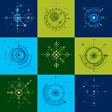 Set of vector abstract backgrounds created in Bauhaus retro styl Royalty Free Stock Photos
