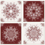 Set of vector abstract backgrounds with mandala elements. Decorative seamless. Vintage geometric textures. Lace pattern. Stock Images