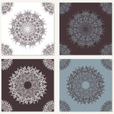 Set of vector abstract backgrounds with mandala elements. Decorative seamless. Vintage geometric textures. Lace pattern.  Stock Photos