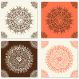 Set of vector abstract backgrounds with mandala elements. Decorative seamless Royalty Free Stock Image