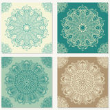 Set of vector abstract backgrounds with mandala elements. Decorative seamless. Vintage geometric textures.  Royalty Free Stock Photos