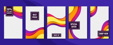 Set of vector abstract backgrounds. Material design. Template for web design, advertising, social networks. Set of vector abstract backgrounds. Material design royalty free illustration