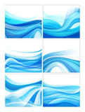 Set of vector abstract blue wavy water stream Royalty Free Stock Photography