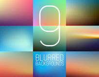 Set of 9 vector Abstract blurred  background. Collection of 9 vector Abstract blurred  background Royalty Free Stock Photo
