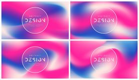 Set of vector abstract colorful backgrounds, trendy futuristic g. Radient designs, minimalist liquid style compostions. Global swatches Stock Photos