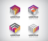 Set of vector abstract colorful geometric cube 3d. Icons, logos Stock Photography