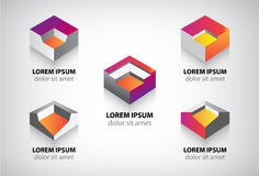 Set of vector abstract colorful geometric cube 3d Stock Images