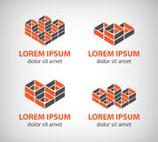 Set of vector abstract colorful geometric cube 3d Royalty Free Stock Photography