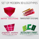 Set of vector abstract colorful geometric 3d logos Stock Photos