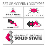 Set of vector abstract colorful geometric 3d logos. Vector illustration design Stock Photography