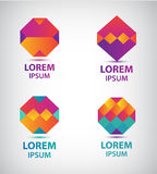 Set of vector abstract colorful geometric logos Stock Image