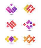 Set of vector abstract colorful icons, logos Royalty Free Stock Photo