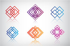 Set of vector abstract colorful icons, logos Stock Photos
