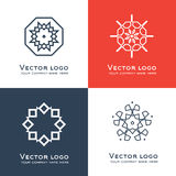 Set of vector abstract geometric logo. Celtic, arabic style. Sacred geometry icon. Identity design Royalty Free Stock Photography