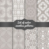 Set of vector abstract geometric pattern backgrounds. Elegant backgrounds for cards and invitations Royalty Free Stock Photography