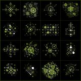 Set of vector abstract green backgrounds created in Bauhaus retr. O style using honeycombs and circles. Modern geometric composition can be used as templates and royalty free illustration