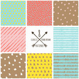Set of vector abstract hand drawn seamless patterns. Royalty Free Stock Photo