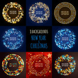 Set of vector abstract holiday backgrounds. Christmas, New Year Stock Image