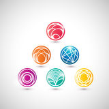 Set of vector abstract icons in asian style. Royalty Free Stock Photos