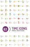 Set of vector abstract logo ideas, time concepts or clock business icon collection Stock Photography