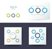 Set of Vector abstract molecules with 3D paper label. Integrated circles. Blank space for content, business, infographic template, diagram, network, web design Royalty Free Stock Photography