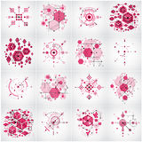 Set of vector abstract red backgrounds created in Bauhaus retro Royalty Free Stock Photography