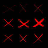 Set Vector Abstract Sketch Red Crosses Royalty Free Stock Images