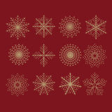 Set of 12 vector abstract snowflakes Royalty Free Stock Photos