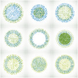 Set of vector abstract technology elements with round colorful c Stock Image