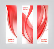 Set of vector abstract wavy red banners, vertical. Stock Photography