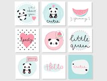 Set of 9 vector adorable cards with panda bear, watermelon and words stock illustration