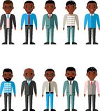 Set of vector african american business peoples. Illustration of a international different manager man Royalty Free Stock Photography