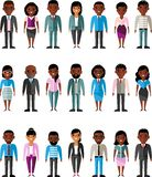 Set of vector african american business peoples. Illustration of a international different manager man and woman Stock Image