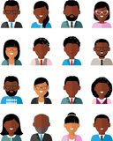 Set of vector african american business peoples. Illustration of a international different manager man and woman Stock Photography
