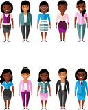 Set of vector african american business peoples. Illustration of a international different manager woman Royalty Free Stock Photo