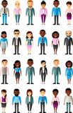 Set of vector african american, european business peoples. Illustration of a international different manager man and woman Stock Photos