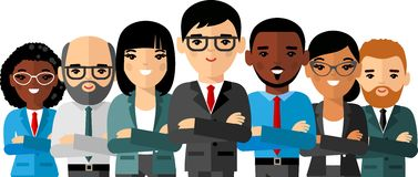 Set of vector  african american, european business peoples. Illustration of a international different manager man and woman Royalty Free Stock Image