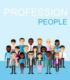 Set of vector african american, european business peoples. Illustration of a international different manager man and woman Royalty Free Stock Photo