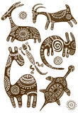 Set of vector African traditional patterns with animals Royalty Free Stock Image